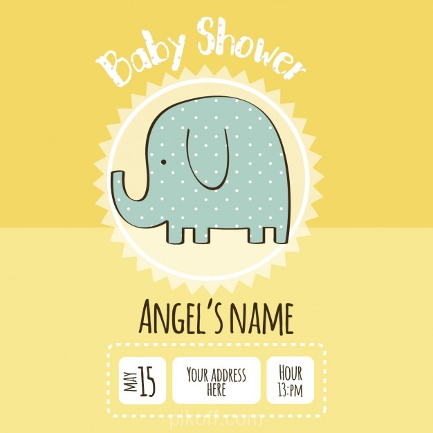 Ai Baby Shower Invitation With An Elephant Drawing Vector Free