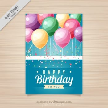 Ai Birthday Card With Balloons Vector Free Download