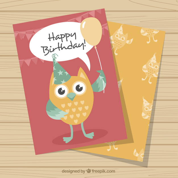 Ai Birthday Greeting Card With Pretty Owl Vector Free Download