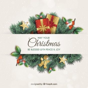 [Ai] Christmas Greeting Card With Garlands Vector Free Download