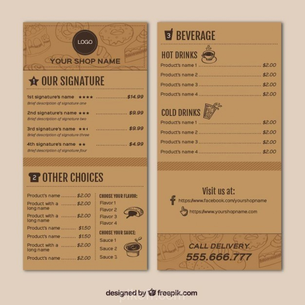 ai coffee shop menu template vector free download pikdone