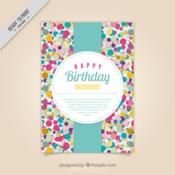 Ai Colored Confetti Birthday Card Vector Free Download