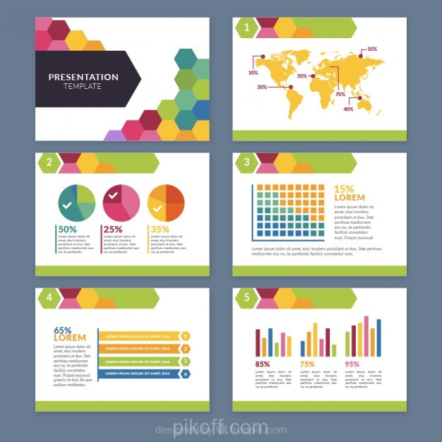 ai colored hexagonal business presentation vector free download