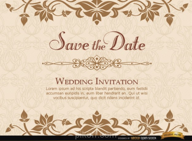 Ai Elegant Floristic Wedding Invitation Card Vector Free