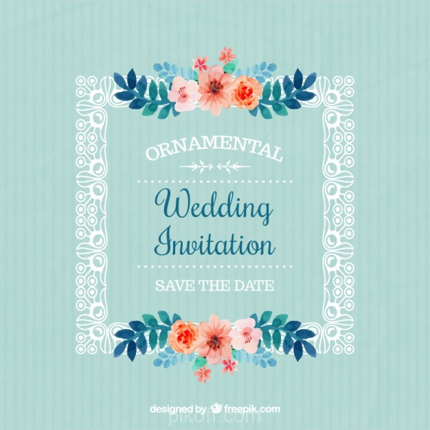 Ai Frame With Flowers Wedding Invitation Vector Free